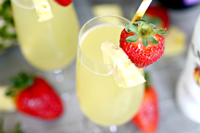 Tropical Mimosa with coconut rum and pineapple juice