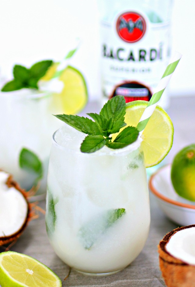 coconut mojito with lime and mint