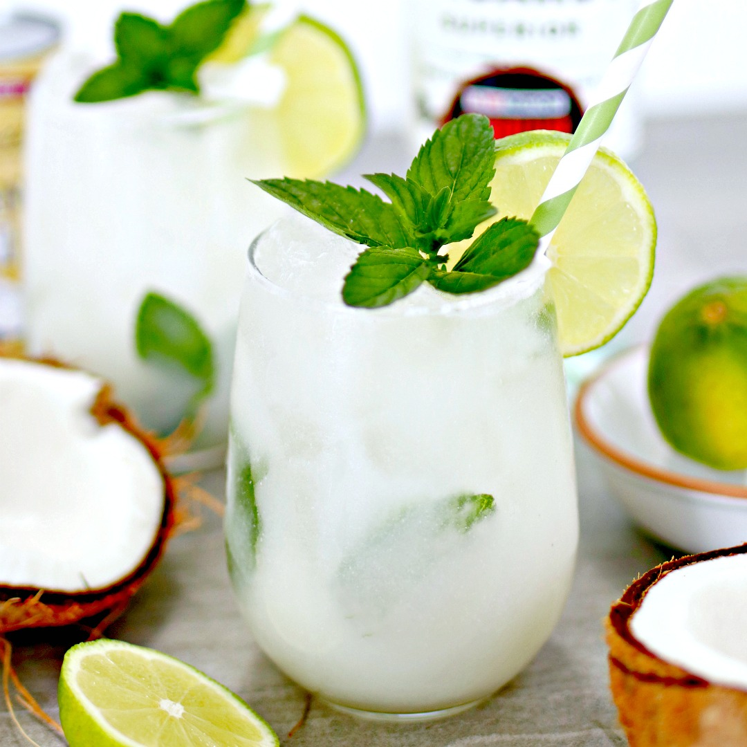 coconut rum mojito with mint and lime