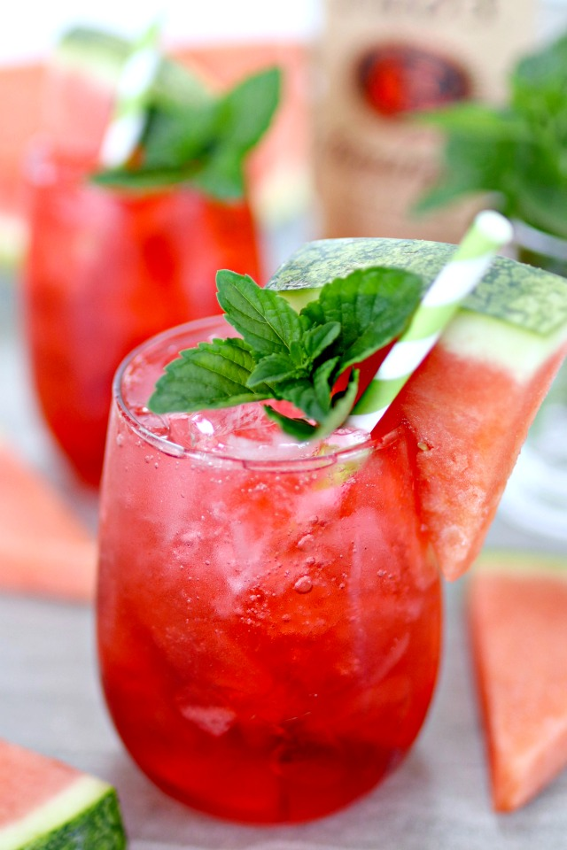 watermelon vodka cocktail with mint