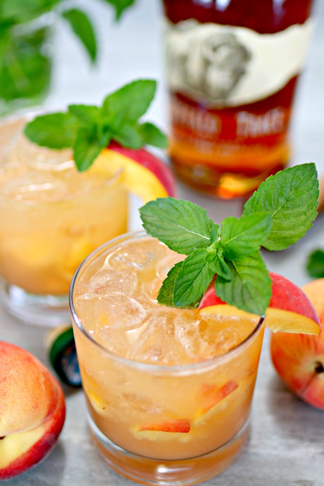 Bourbon Peach Smash Cocktail